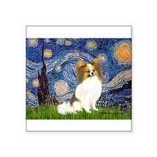 "Starry Night Papillon (f) Square Sticker 3"" x 3"""