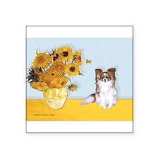 "Sunflowers / Papillon(f) Square Sticker 3"" x 3"""