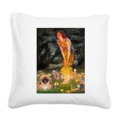 Fairies / Pekingese(r&w) Square Canvas Pillow