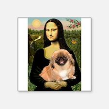 "Mona / Pekingese(r&w) Square Sticker 3"" x 3"""