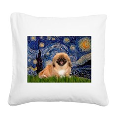 Starry / Pekingese(r&w) Square Canvas Pillow
