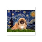 Starry / Pekingese(r&w) Square Sticker 3