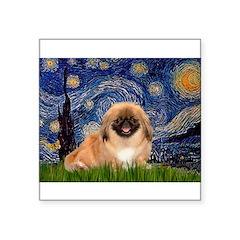 Starry / Pekingese(r&w) Square Sticker 3