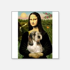 "Mona Lisa / PBGV Square Sticker 3"" x 3"""