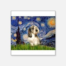 "Starry Night / PBGV Square Sticker 3"" x 3"""