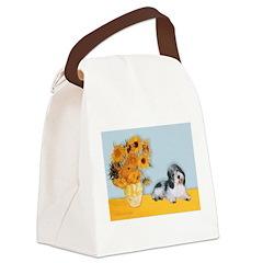 Sunflowers/PBGV Canvas Lunch Bag