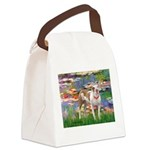Lilies & Pitbull Canvas Lunch Bag