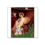 Seated Angel / Pitbull Square Sticker 3