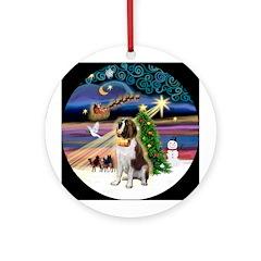 Xmas Magic & Saint Bernard Ornament (Round)