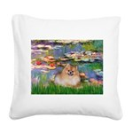 Lilies2/Pomeranian #4 Square Canvas Pillow