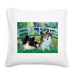 Bridge / 2 Pomeranians Square Canvas Pillow