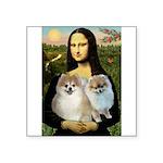 Mona/2 Pomeranians Square Sticker 3