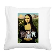 Mona Lisa/Pomeranians Square Canvas Pillow