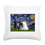 Starry/Pomeranian(r&w) Square Canvas Pillow