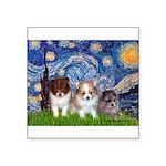 Starry-Pom PUPPY TRIO.png Square Sticker 3