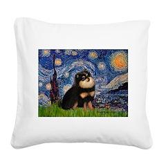 Starry Night / Pomeranian(b&t) Square Canvas Pillo