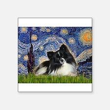"""Starry Night / Pomeranian (b&w) Square Sticker 3"""""""