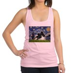 Starry Night / Pomeranian (b&w) Racerback Tank Top