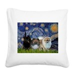 Starry/3 Pomeranians Square Canvas Pillow