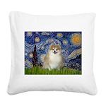 Starry / Pomeranian Square Canvas Pillow