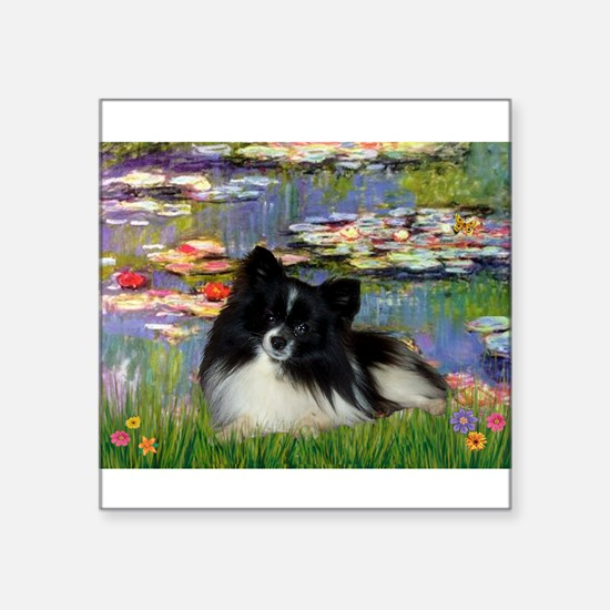 """Lilies / Pomeranian (b&w) Square Sticker 3"""" x 3"""""""