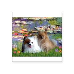 Lilies / 2 Pomeranians Square Sticker 3
