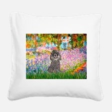 Garden / Poodle (Silver) Square Canvas Pillow