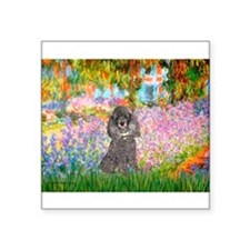 "Garden / Poodle (Silver) Square Sticker 3"" x 3"""