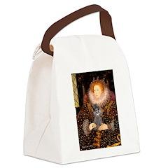 Elizabeth / Poodle (Silver) Canvas Lunch Bag