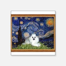 "Starry Night / Poodle(w) Square Sticker 3"" x 3"""