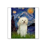 Starry / Poodle (White) Square Sticker 3