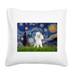 Starry / Poodle (White) Square Canvas Pillow