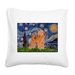 Starry / Poodle (Apricot) Square Canvas Pillow