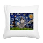 Starry Night / Poodle (s) Square Canvas Pillow