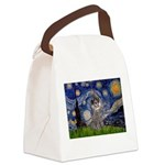 Starry Night / Poodle (s) Canvas Lunch Bag
