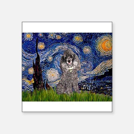 """Starry Night / Poodle (s) Square Sticker 3"""" x 3"""""""