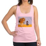 Sunflowers / Poodle (Silver) Racerback Tank Top