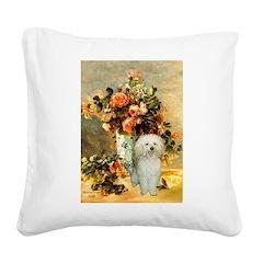 Vase / Poodle (White) Square Canvas Pillow