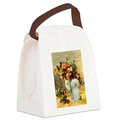 Vase / Poodle (White) Canvas Lunch Bag