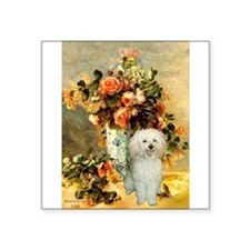 "Vase / Poodle (White) Square Sticker 3"" x 3"""