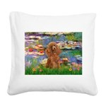 Lilies / Poodle (Apricot) Square Canvas Pillow