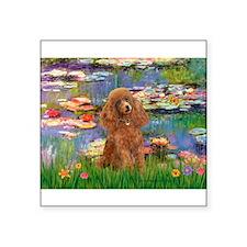 """Lilies / Poodle (Apricot) Square Sticker 3"""" x 3"""""""
