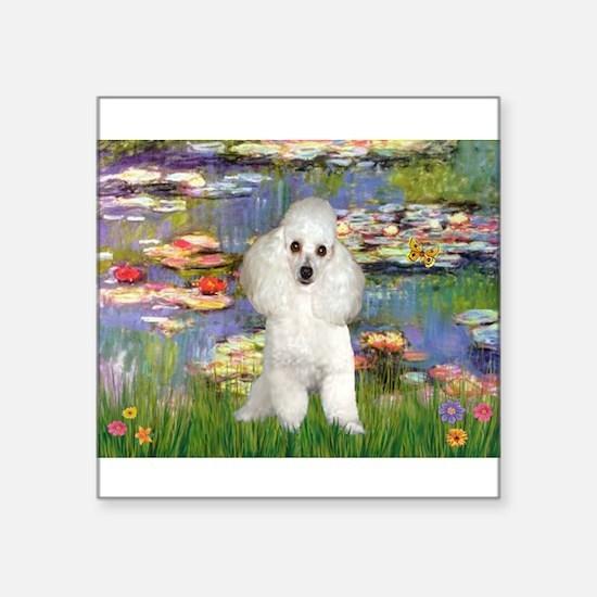 "Lilies /Poodle (w) Square Sticker 3"" x 3"""