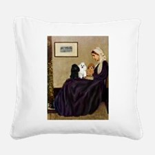 Whistler's / 3 Poodles Square Canvas Pillow