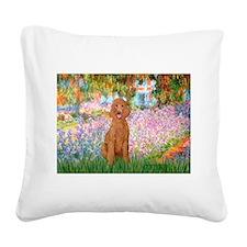 Garden/Std Poodle (apricot) Square Canvas Pillow