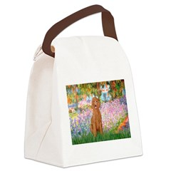 Garden/Std Poodle (apricot) Canvas Lunch Bag