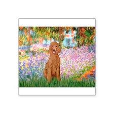 "Garden/Std Poodle (apricot) Square Sticker 3"" x 3"""