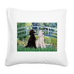 Bridge / Std Poodle (pr) Square Canvas Pillow