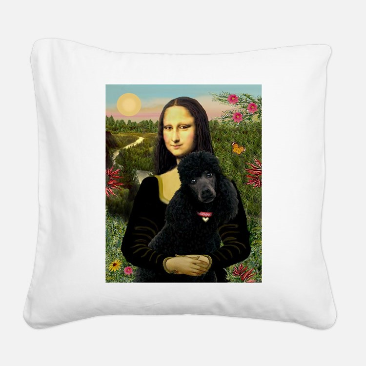 Mona / Std Poodle (bl) Square Canvas Pillow