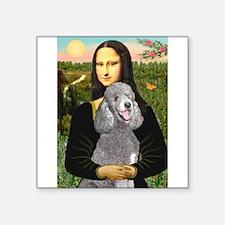 """Mona Lia/Std Poodle (silver) Square Sticker 3"""" x 3"""